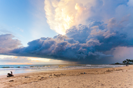 Ahungalla Beach, Sri Lanka, Asia - Weather phenomenon during sunset at the beach of Ahungalla