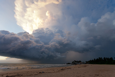 Ahungalla Beach, Sri Lanka, Asia - Overclouded landscape during sunset at the beach of Ahungalla