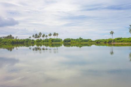 Induruwa, Sri Lanka, Asia - A natural lake bihind the ocean coast line Standard-Bild - 96929639