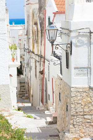 Vieste, Italy, Europe - View into an historic lane of Vieste Standard-Bild - 101140217