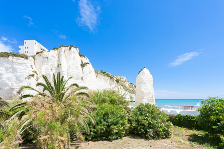 Vieste, Italy, Europe - Out for a walk in the park at the chalk rocks of Vieste Standard-Bild - 101140216