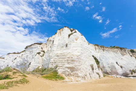 Vieste, Italy, Europe - Impressive chalk cliffs at the beach of Vieste Stock Photo