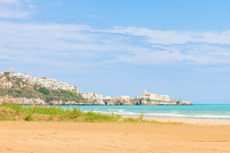 Vieste, Italy, Europe - Looking towards the city ledge from the beach of Vieste Standard-Bild - 101140219