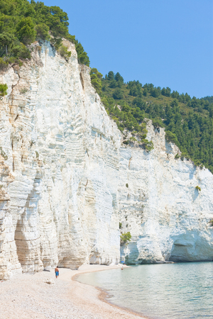 Vignanotica, Apulia, Italy - Visiting the chalk cliffs of Vignanotica Stock Photo