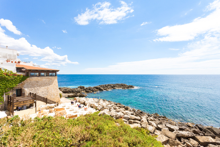 Gallipoli, Apulia, Italy - Dinner at a restaurant with a wonderful scenery Standard-Bild - 101711370