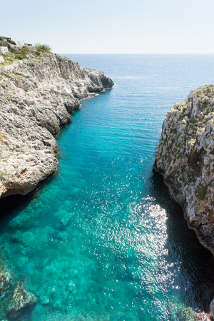 Apulia, Leuca, Italy, Grotto of Ciolo - Refelcting sunlight on the water surface