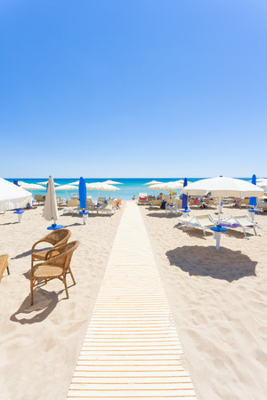 Lido Venere, Apulia, Italy - Sunshades at the beautiful beach of Lido Venere