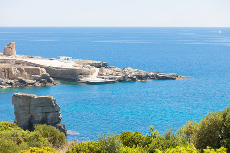 Torre die Miggiano, Apulia, Italy - Overview across the bay of Torre Miggiano Stock Photo