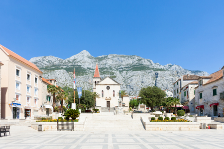 Makarska, Dalmatia, Croatia, Europe - AUGUST 23, 2017 - Some tourists visiting the marketplace of Makarska