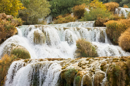 Krka, Sibenik, Croatia, Europe - Experiencing the strenght of water at the cataract of Krka Stock Photo
