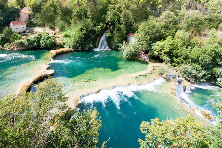 Krka, Sibenik, Croatia, Europe - Aerial shot of the cascade waterfalls of Krka