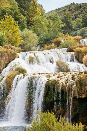 Krka, Sibenik, Croatia, Europe - Krka Cascades leading to a river bed Standard-Bild