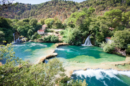 Krka, Sibenik, Croatia, Europe - Viewpoint upon the cascades of Krka National Park