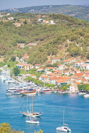 Skradin, Croatia, Europe - Sailing ships at the harbor of Skradin Standard-Bild