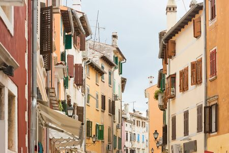 Rovinj, Istria, Croatia, Europe - Coloured facades at the city center of Rovinj