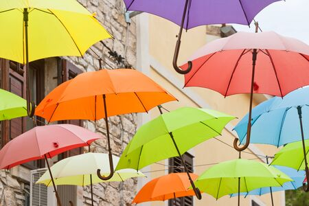 Novigrad, Istria, Croatia, Europe - Umbrellas in the streets of Novigrad