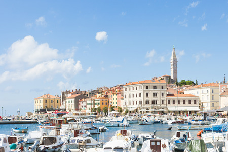 Rovinj, Croatia, Europe - SEPTEMBER 2, 2017 - Moored motorboats at the harbour of Rovinj