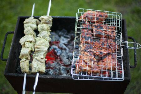 brazier: Steak and shish kebab on brazier