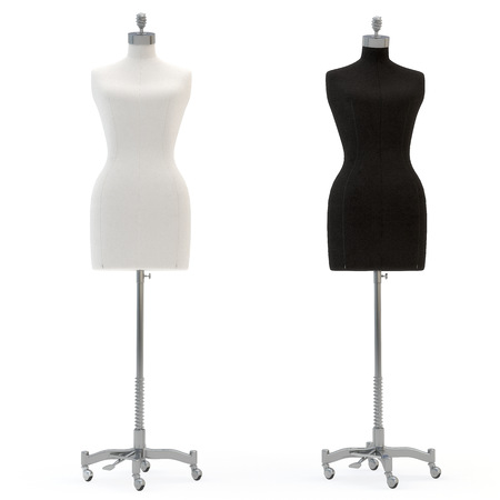 illustrate of a female mannequin , isolated, white bacground Stock Photo