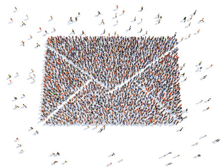 illustration of  a envelope with people , isolated illustration