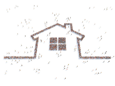 main group: illustration of a home with people , isolated Stock Photo