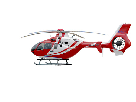 fire fighting equipment: Red helicopter on white background, isolated object