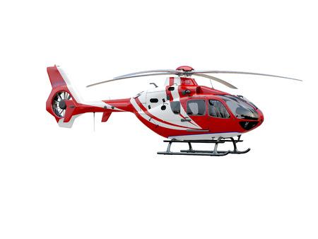 Helicóptero rojo sobre fondo blanco, objeto aislado
