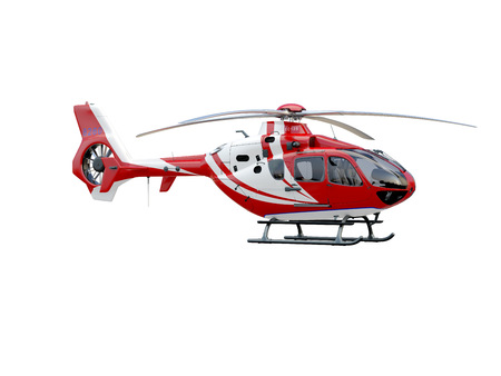 Red helicopter on white background, isolated object photo