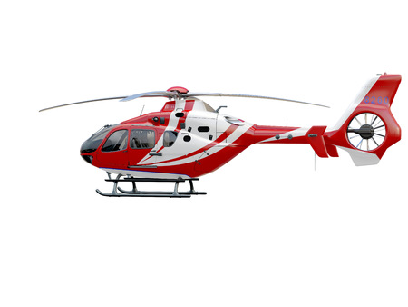 Red helicopter on white background, isolated object