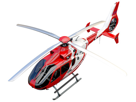 helicopter rescue: Red helicopter on white background, isolated object