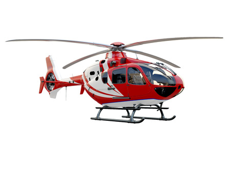 intervention: Red helicopter on white background, isolated object