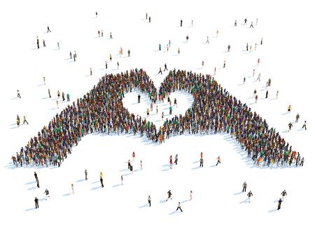illustratie van handen die het hart, geïsoleerde Stockfoto