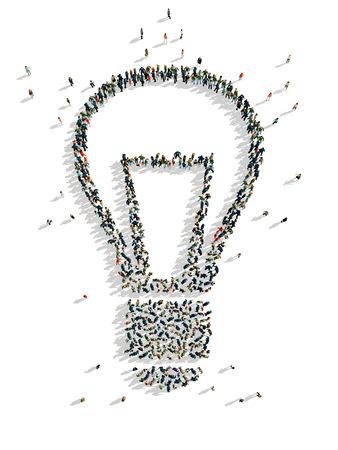 illustraties van lamp met mensen, geïsoleerde, witte achtergrond