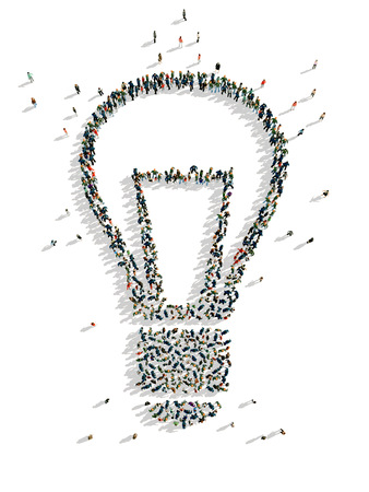 illustrations of lamp with people, isolated, white background