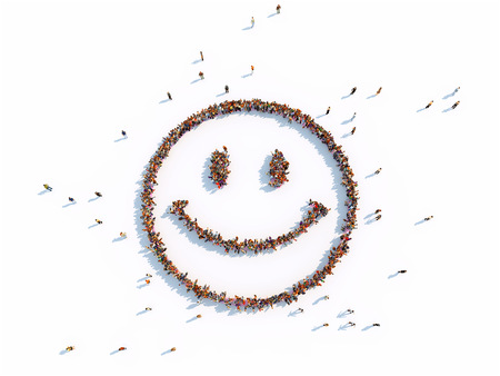 illustrations of smile with people, isolated, white background Stockfoto