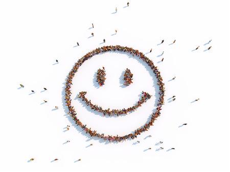 illustraties van glimlach met mensen, geïsoleerde, witte achtergrond Stockfoto