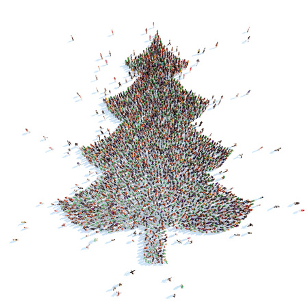 overcrowded: A large group of people in the shape of a Christmas tree. White background.