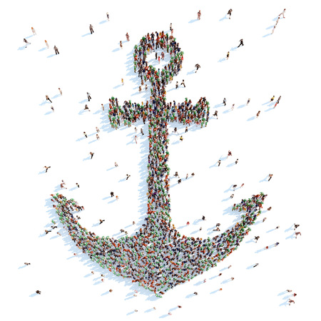 overcrowded: Large group of people in the form of an anchor. White background.
