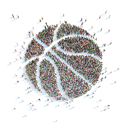 overcrowded: Large group of people in the form of a basketball ball. White background.