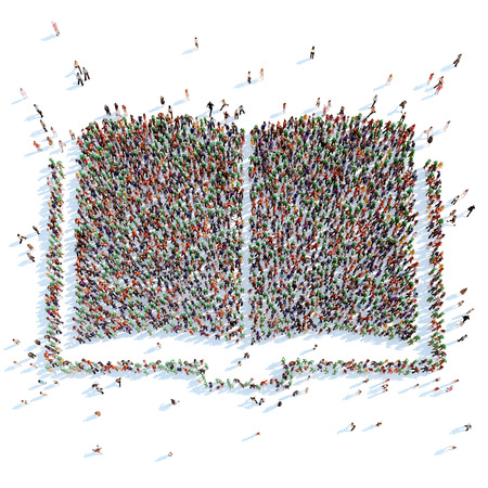from above: A large group of people in the form of a book. White background. Stock Photo