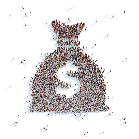 overcrowded: Large group of people in the form of a bag with money. White background. Stock Photo
