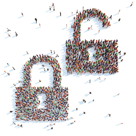 overcrowded: Large group of people in the form of locks. White background.