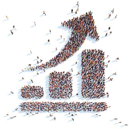Gran grupo de personas en la forma de un gráfico de flecha. Fondo blanco. Foto de archivo
