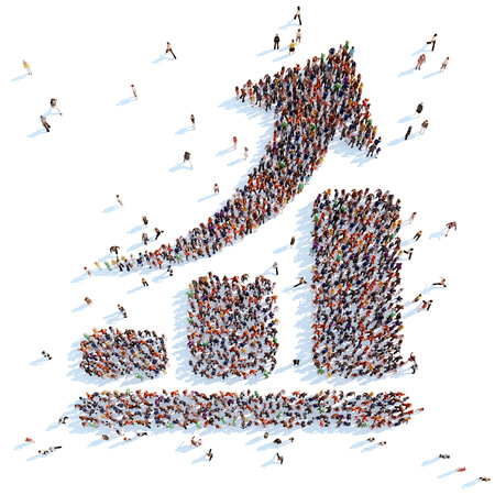 Large group of people in the form of an arrow graphic. White background.