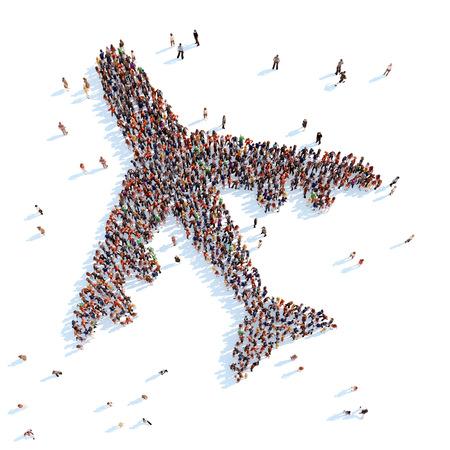 Grote groep mensen in de vorm van een vliegtuig. Witte achtergrond. Stockfoto