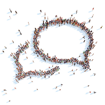 雑談泡の形で人々 の大きいグループ。白の背景