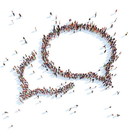 grupos de gente: Gran grupo de personas en la forma de un fondo de chat bubble.White Foto de archivo