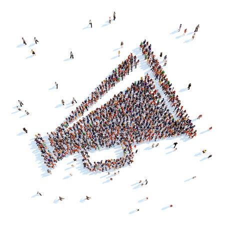 ホーンの形で人々 の大きいグループ。白い背景。 写真素材