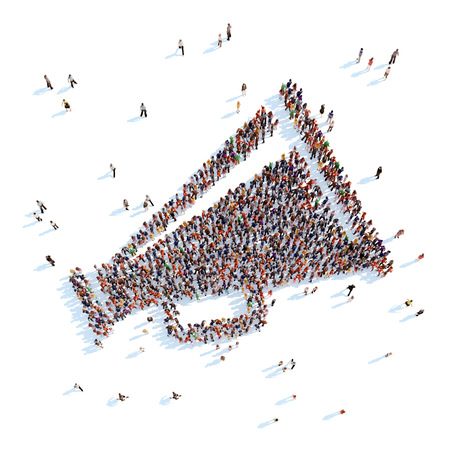 Large group of people in the form of a horn. White background.
