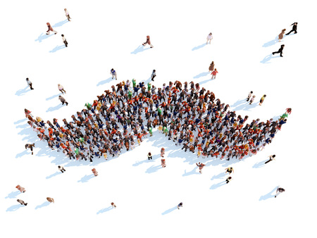 overcrowded: Large group of people in the form of whiskers. White background.